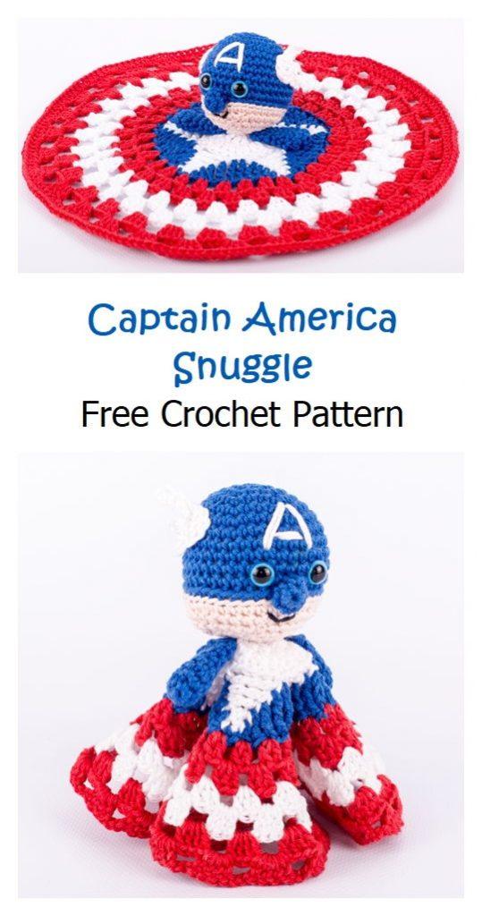 Captain America Snuggle Free Crochet Pattern