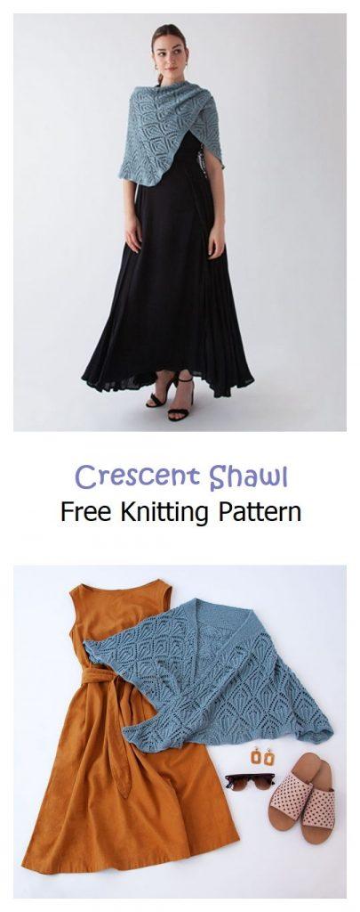 Crescent Shawl Free Knitting Pattern