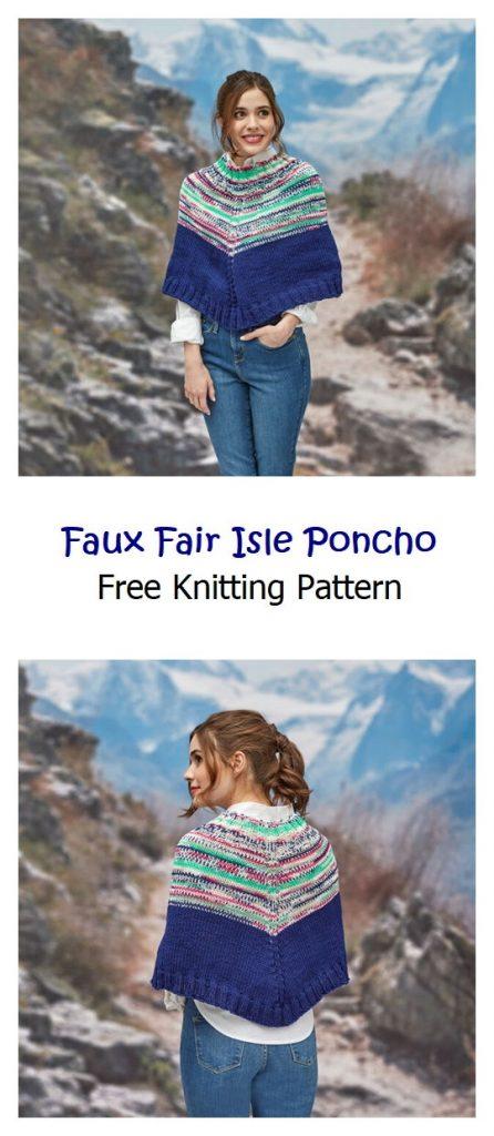 Faux Fair Isle Poncho Pattern