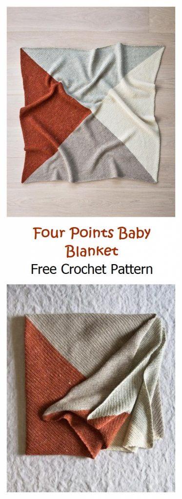 Four Points Baby Blanket Free Crochet Pattern
