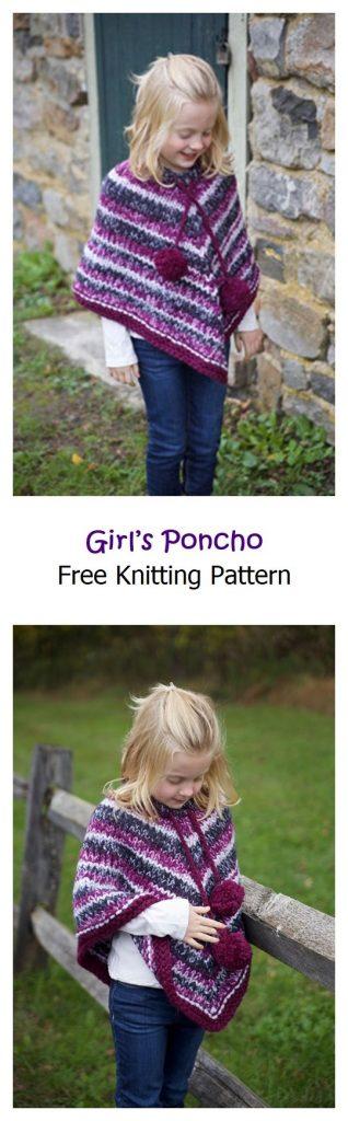 Girl's Poncho Free Knitting Pattern