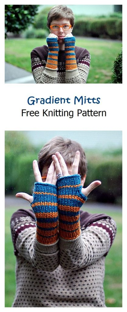 Gradient Mitts Free Knitting Pattern