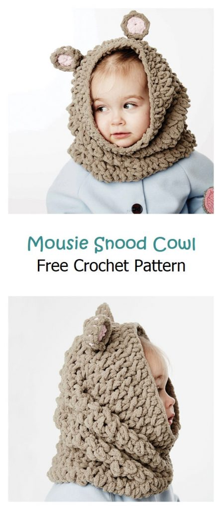 Mousie Snood Cowl Free Crochet Pattern