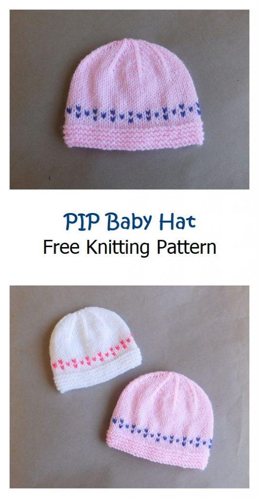 PIP Baby Hat Free Knitting Pattern