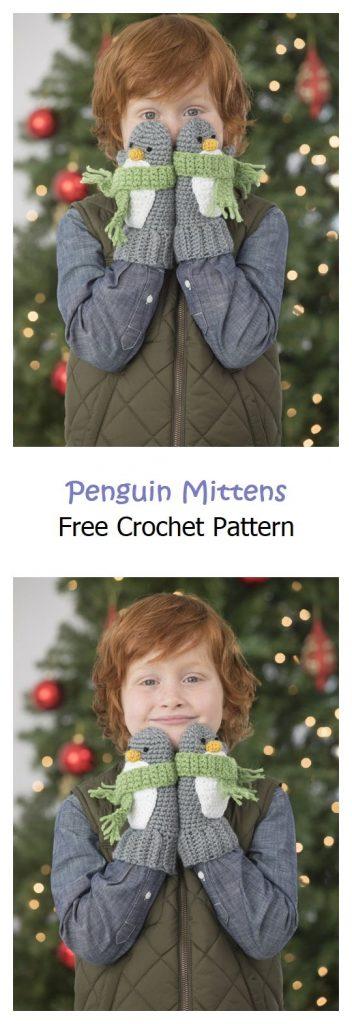 Penguin Mittens Free Crochet Pattern