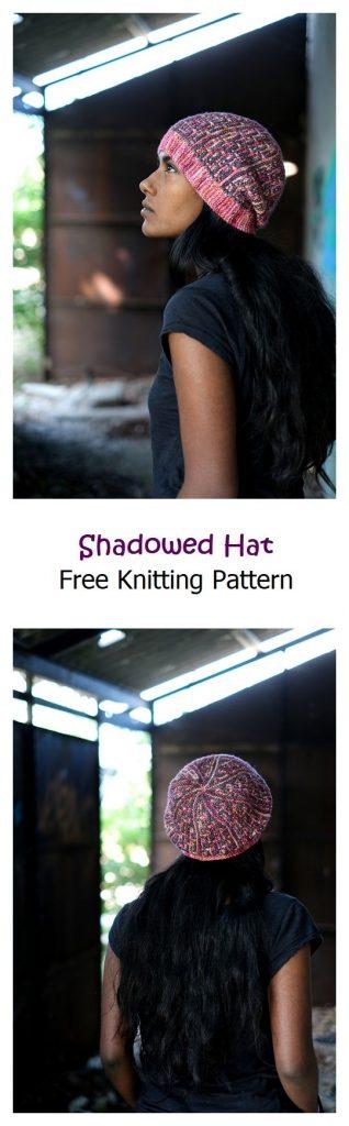 Shadowed Hat Free Knitting Pattern