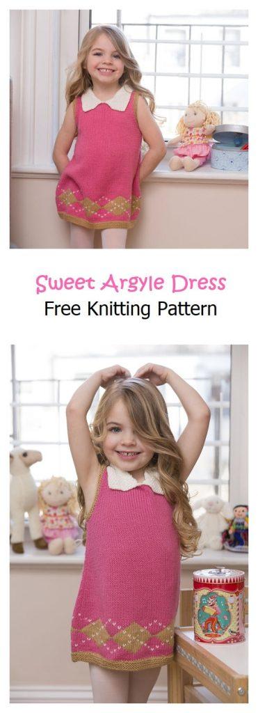 Sweet Argyle Dress Free Knitting Pattern