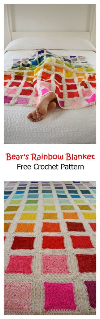 Bear's Rainbow Blanket Pattern