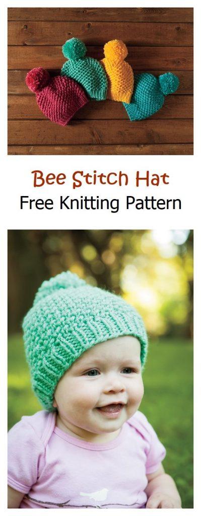 Bee Stitch Hat Free Knitting Pattern