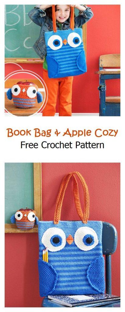 Book Bag & Apple Cozy Free Crochet Pattern