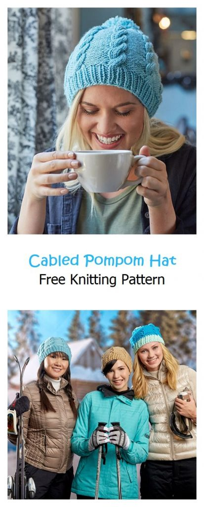 Cabled Pompom Hat Free Knitting Pattern