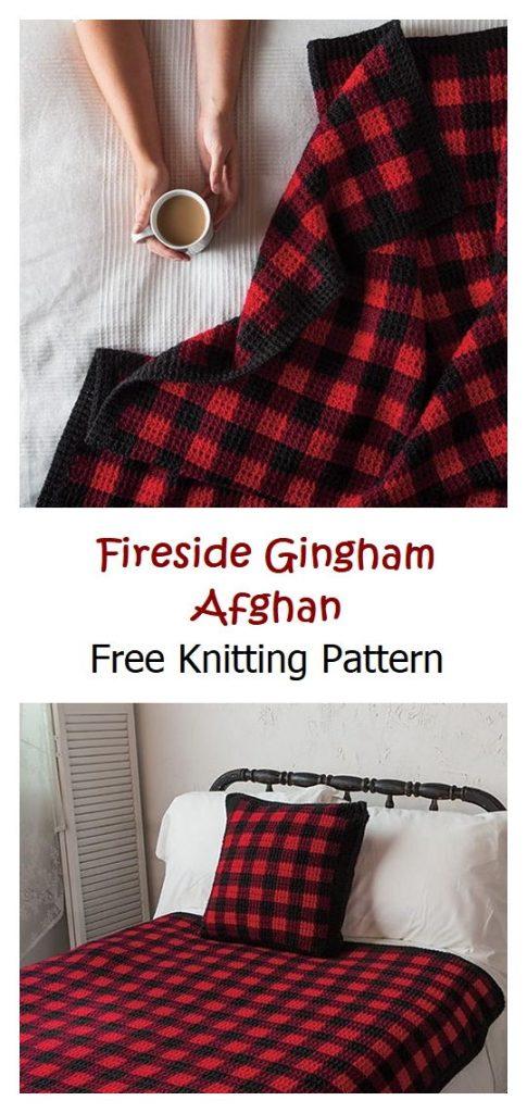 Fireside Gingham Afghan Free Crochet Pattern
