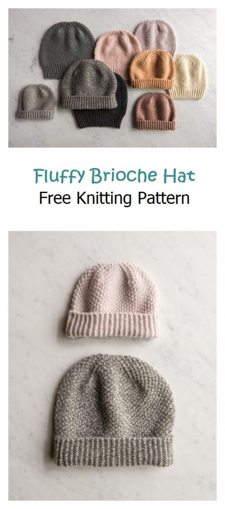 Fluffy Brioche Hat Free Knitting Pattern
