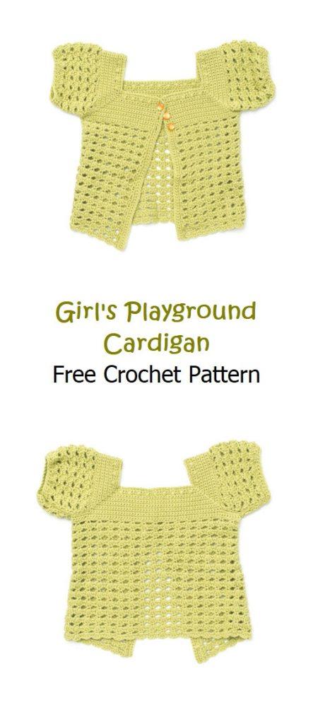 Girl's Playground Cardigan Free Crochet Pattern