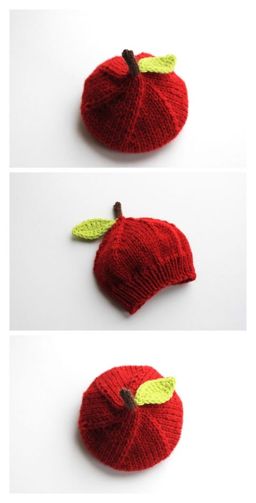 Lil' Apple Hat Free Knitting Pattern