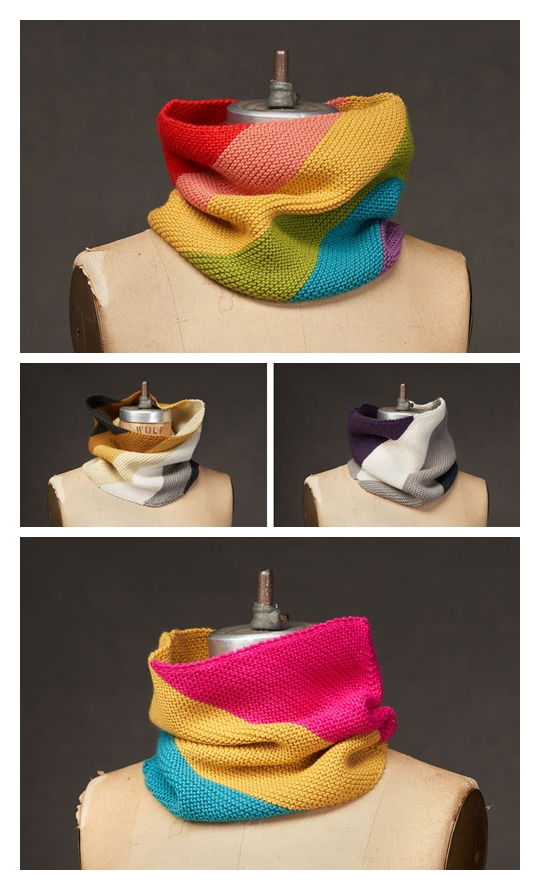 Queer Pride Flag Cowls Free Knitting Pattern