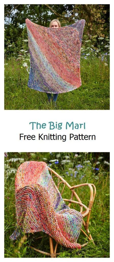 The Big Marl Blanket Free Knitting Pattern