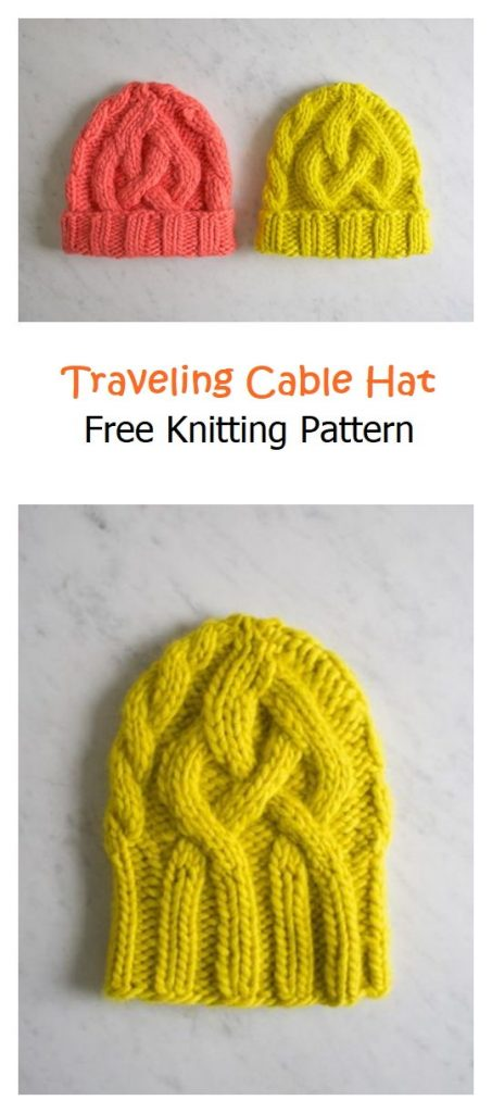 Traveling Cable Hat Free Knitting Pattern