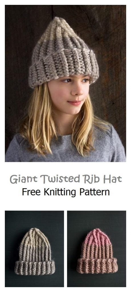 Giant Twisted Rib Hat Free Knitting Pattern