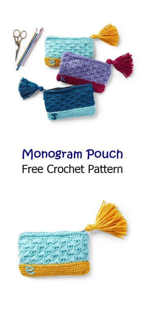 Monogram Pouch Free Crochet Pattern