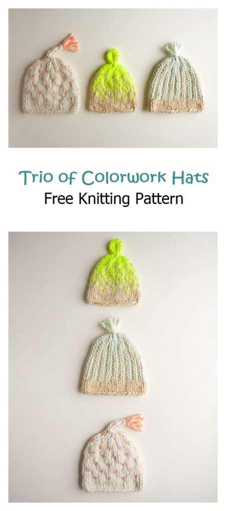 Trio of Colorwork Hats Free Knitting Pattern