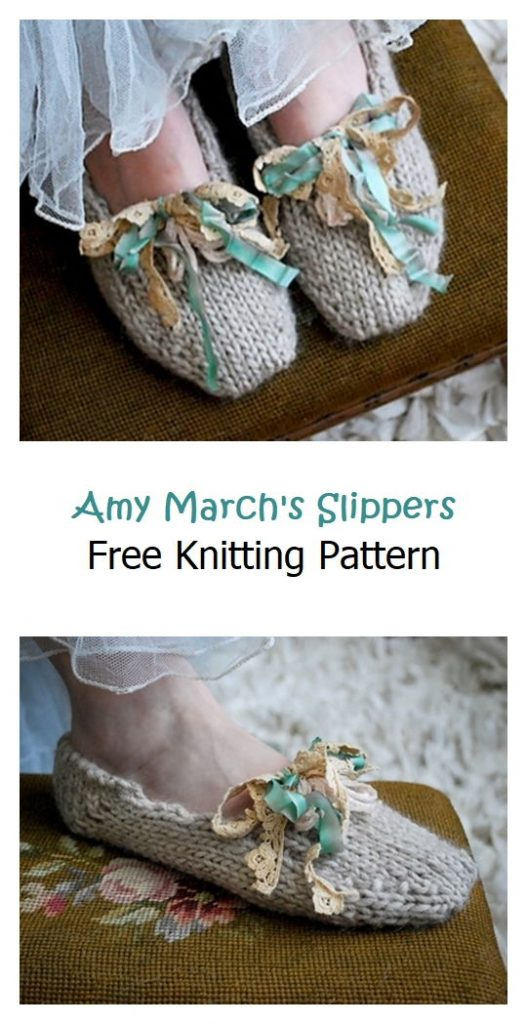 Amy March's Slippers Free Knitting Pattern