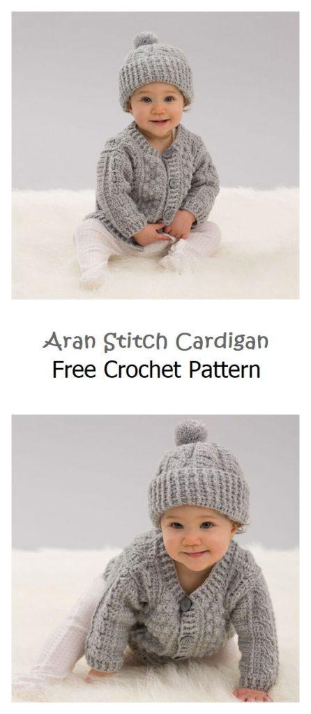 Aran Stitch Cardigan Free Crochet Pattern
