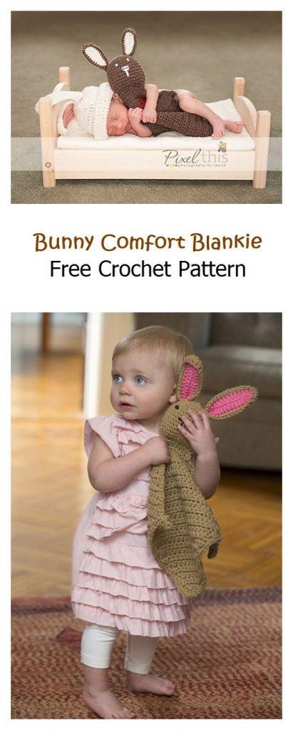 Bunny Comfort Blankie Free Crochet Pattern