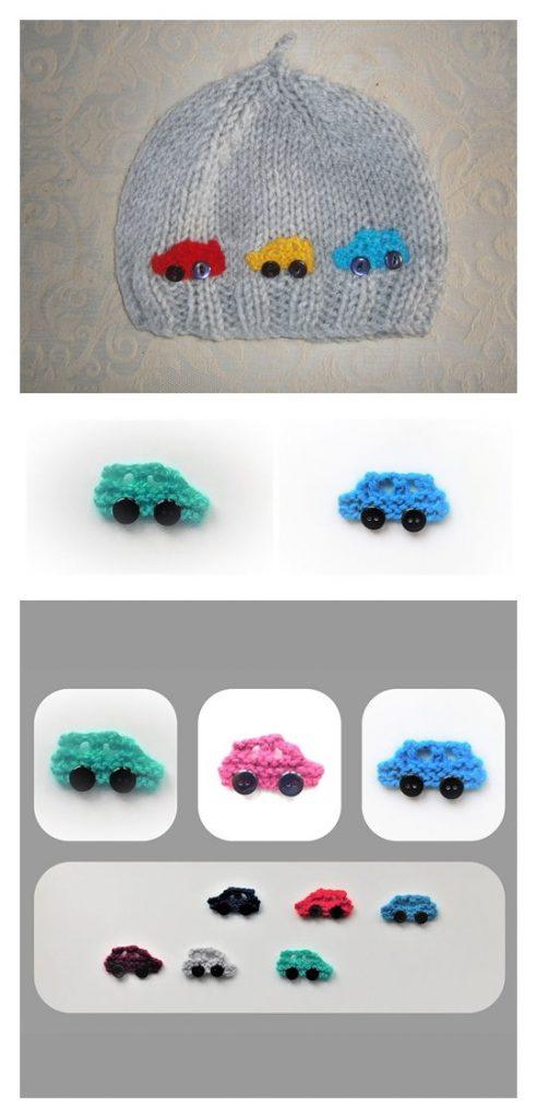 Car Applique Motif Free Knitting Pattern