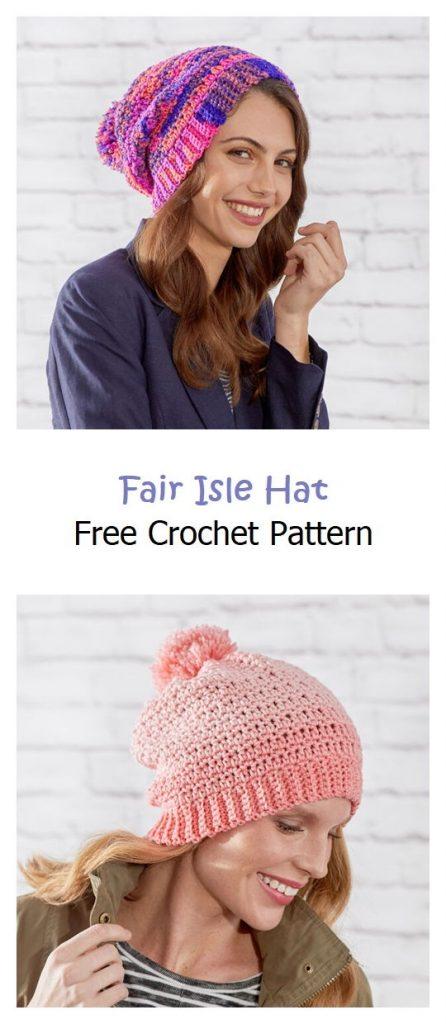 Fair Isle Hat Free Crochet Pattern
