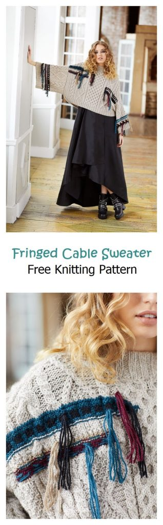 Fringed Cable Sweater Free Knitting Pattern