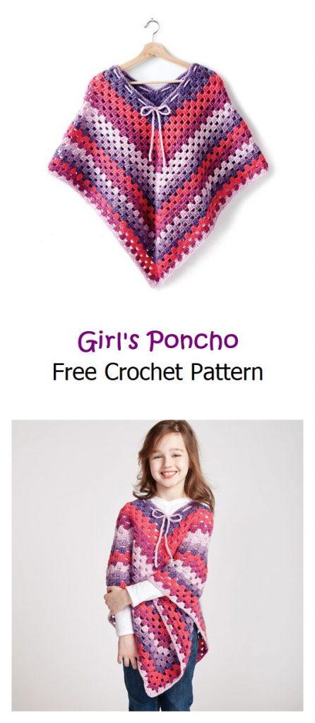 Girl's Poncho Free Crochet Pattern