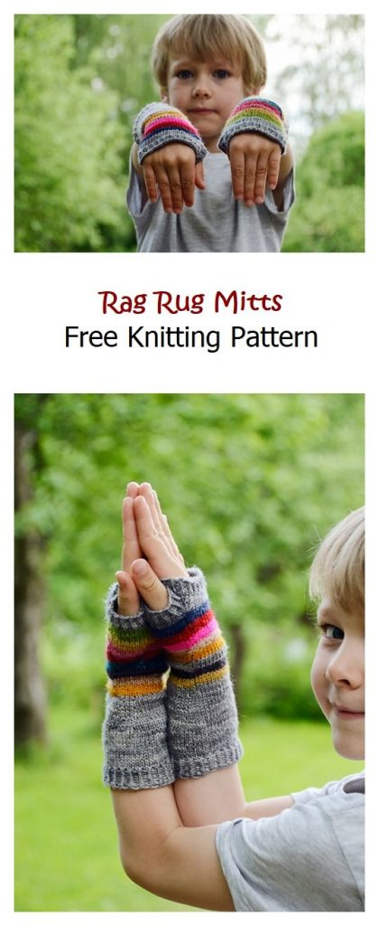 Rag Rug Mitts Free Knitting Pattern
