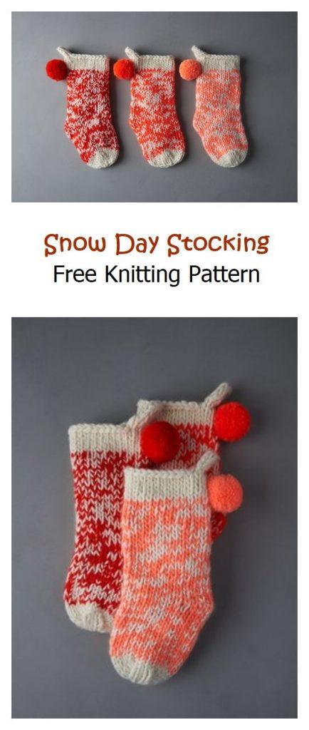 Snow Day Stocking Free Knitting Pattern