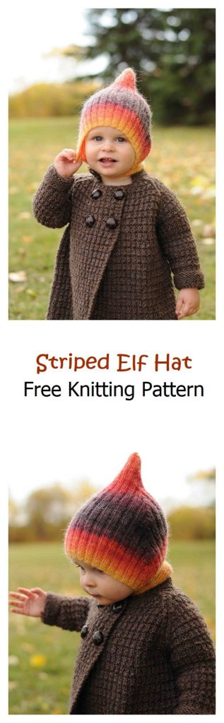 Striped Elf Hat Free Knitting Pattern