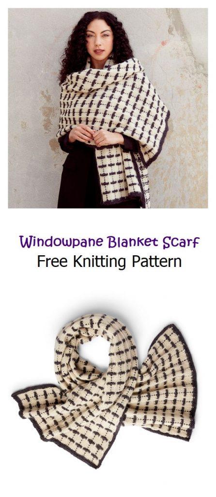 Windowpane Blanket Scarf Free Knitting Pattern