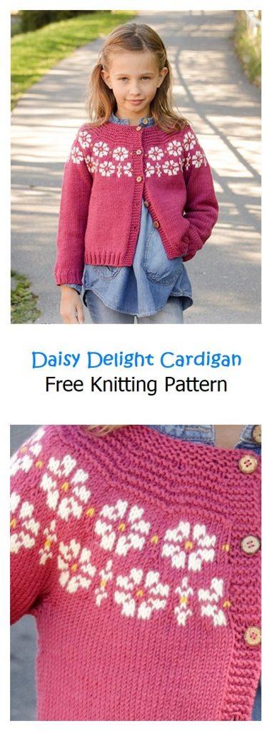 Daisy Delight Cardigan Free Knitting Pattern