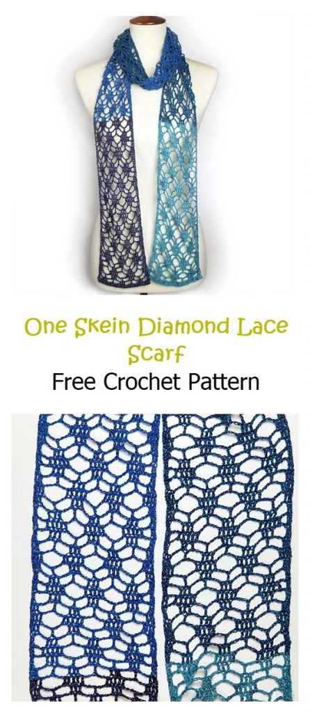 One Skein Diamond Lace Scarf Free Pattern