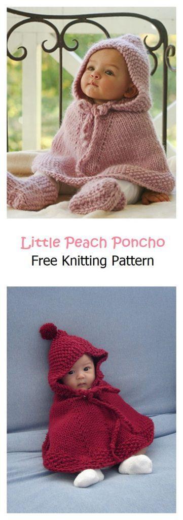 Little Peach Poncho Free Knitting Pattern