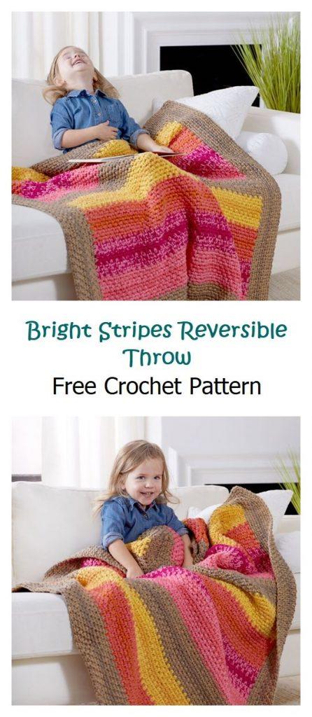 Bright Stripes Reversible Throw Pattern