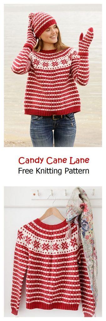 Candy Cane Lane Sweater Free Knitting Pattern