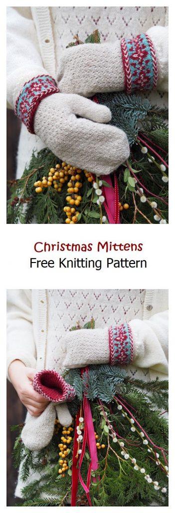 Christmas Mittens Free Knitting Pattern
