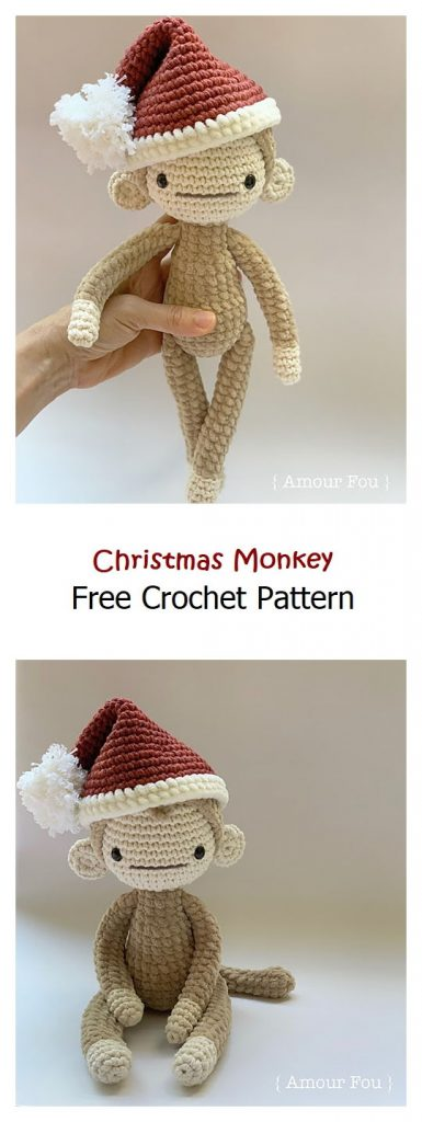 Christmas Monkey Free Amigurumi Pattern
