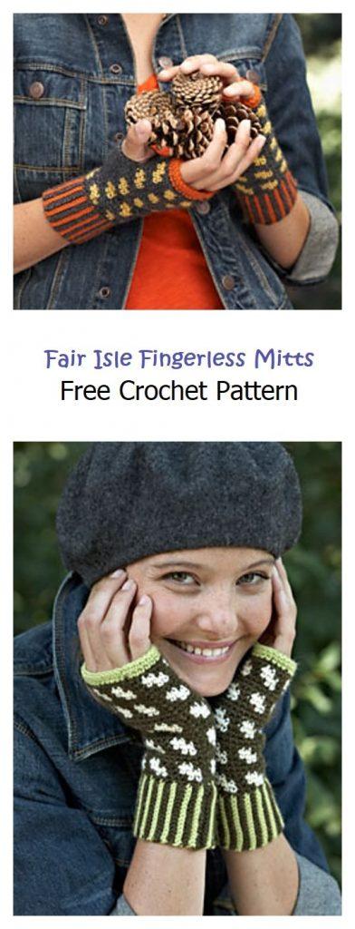 Fair Isle Fingerless Mitts Free Crochet Patetrn