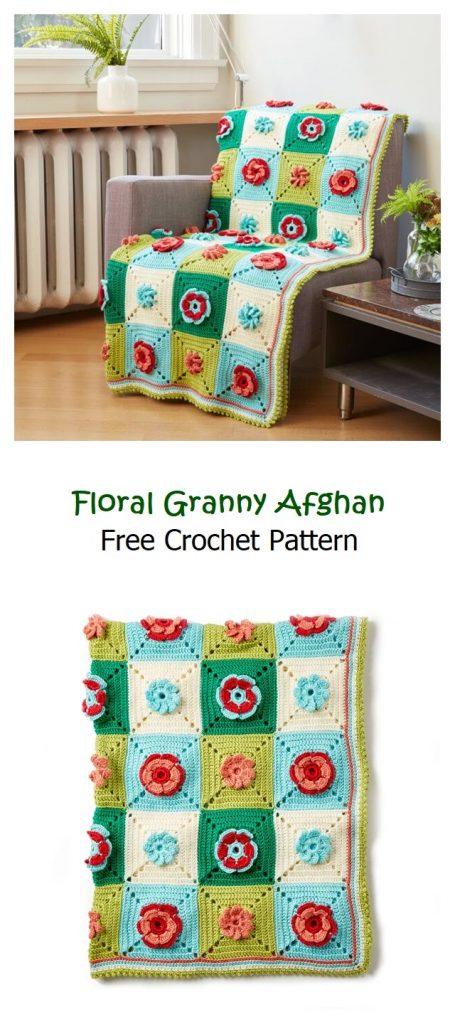 Floral Granny Afghan Free Crochet Pattern