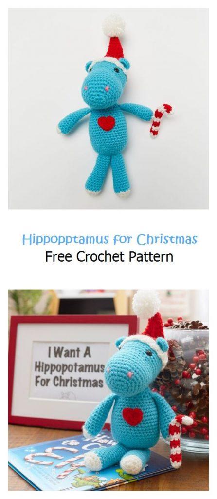 Hippopptamus for Christmas Free Crochet Pattern