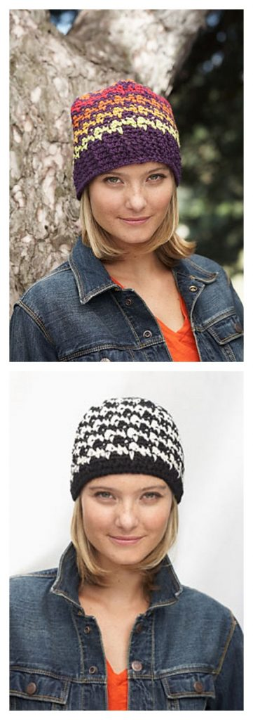 Houndstooth Hat Free Knitting Pattern