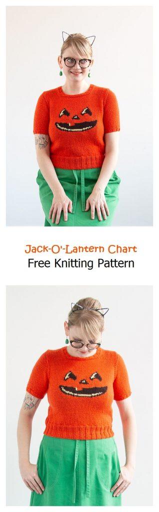 Smiling Jack-O'-Lantern Chart Free Knitting Pattern
