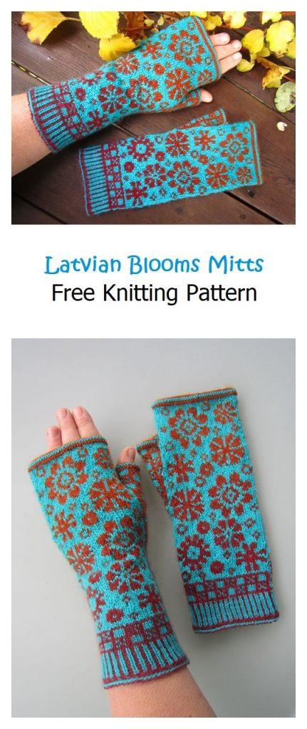 Latvian Blooms Mitts Free Knitting Pattern