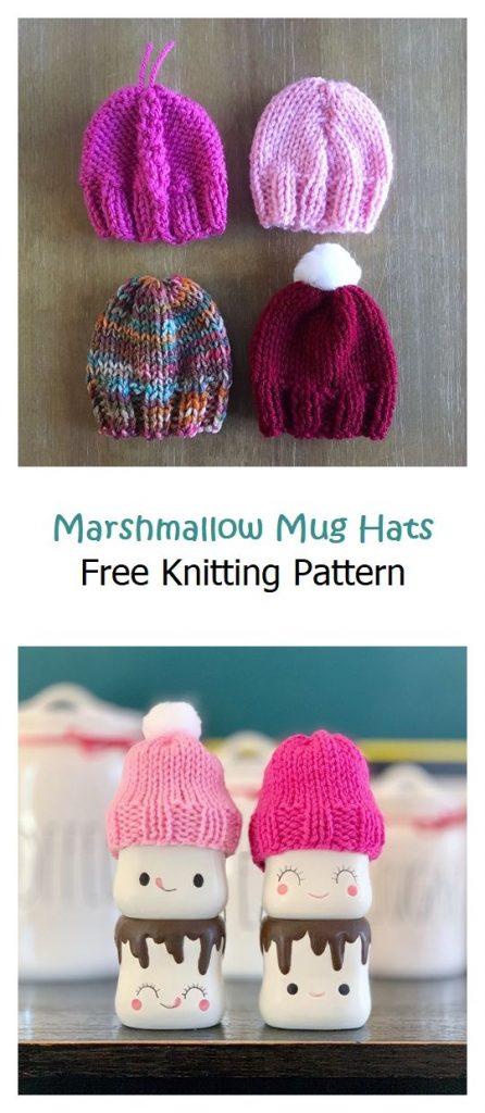 Marshmallow Mug Hats Free Knitting Pattern